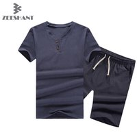 Wholesale Mens Linen CottonT shirt Suit Set Summer Style Short Sleeve T shirt amp Shorts Causal Male Sports set Tracksuit Man