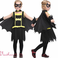 anime patches - New Arrival Kids Halloween Batman Character Cosplay Black Dress with Cape Robin Patch Kids Set Grils Batman Cartoon Anime Stage Wears