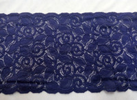 african laces - New Cording Lace Trims Fabric Purple Blue Flower Lace Spandex Scalloped Width quot Elastic African Fabrics For Cocktail Wedding Dress Elastic