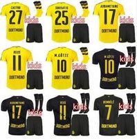 Wholesale 2016 Borussia Dortmund Kids kit Jersey Soccer REUS Dortmund AUBAMEYANG Child youth Kits Football Shirt