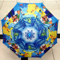Wholesale New cm poke Umbr ella Cartoon pikachu children Umbrella Kids Rain Gear