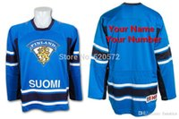 Wholesale Men s Custom SUOMI Team Finland IIHF Swift Replica Blue Hockey Jerseys Customized Name Number Embroidery Sewn On XXS XL