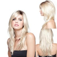 Wholesale Fashion Women AD Shi Kasi wig long straight hair golden gradient