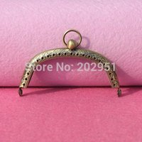 Wholesale Luggage Bags Bag Parts Accessories cm Antique bronze Metal Purse Frame ring kiss clasp Handle for diy Bag Craft