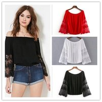 Wholesale Women Sexy Slash neck lace combined sleeves hollow out oversize cotton blouse lady casual pullover tops colors