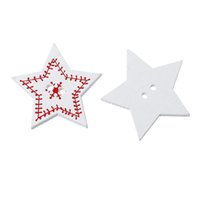 Cheap Red Christmas Snow Printed Five-Pointed Stars Shaped 2 Holes Wooden Sewing Buttons 3.3*3 50PCs Scrapbooking For Craft