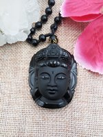 animal head sculpture - Bead curtain natural obsidian transhipped buddha head pendant black Pure manual sculpture limited supply on a monthly basis
