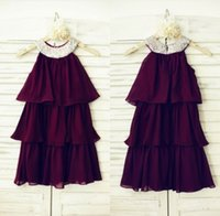 baby wedding outfits - Off Shoulder Burgundy Flower Girl Dresses Tiers Sequin Neckline Baby Girl Birthday Dresses Special Ocassion Outfits