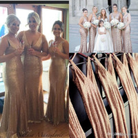 Wholesale 2016 Gold Champage Sequins V Neck Long Bridesmaid Dresses For Wedding Bling Sheath Prom Dress Long Maid Of Honor Dress Formal Evening Gowns