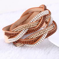 Silver Plate/Fill bars gift goods - New Fashion Layer Wrap Bracelets Snake Leather Bracelets With Crystals Couple Charm Bracelet Jewelry Good Gift