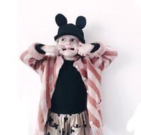 bebe sweaters - INS Baby sweater cardigan BeBe zoo girls long sleeves single breast outwear kids diamond stripe knitting sweater children princess coat A989