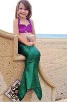 Wholesale Mermaid shell Dress Cute Bowknot Sequin Swimwear Split swimsuit Baby girl Bikini Beach Wear Bathing Infantil summer