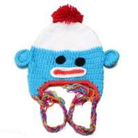 Wholesale New Winter Cartoon Kids Baby Beanies Autumn Child Kid Boy Girl Warm Baggy Knit Braided Ball Beanie Tail Hat Photograph Prop Cap