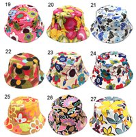 Wholesale Kids Sun Hat styles Floral Sun Hat for Children Bucket Hats kids Fishing Caps Baby Fisherman Hats Cartoon kids beach sun hats D496