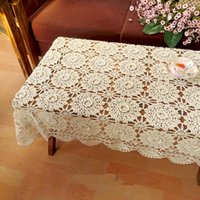 Wholesale Amazing crochet pattern table cover handmade rectangular table topper crochet beige table cloth for home decor