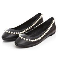 beading eggs - 2016 Spring summer brand fashion genuine leather flat heel shoes women leisure beading ballet loafer flats egg roll shoe