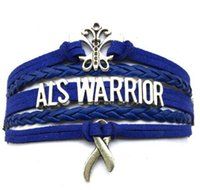 als bracelet - new style Brand New Drop Shipping ALS Warrior Awareness Bracelet Cancer Charm Wrapped Leather Braid Handmade diy handmade jewelry