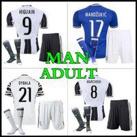 Wholesale Thailand quality custom Adult Kits Juventus Jerseys HIGUAIN Pogba DYBALA PJANIC MARCHISIO best quality shirt