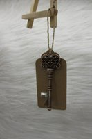 antique holiday cards - 100pcs Wedding Favors Party Gifts Back Gifts for Guests Antique Copper Skeleton Key Beer Bottle Opener with Thanks Card