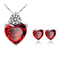 Wholesale New Brand Zircon Crystal Jewelry Sets Fashion Heart Pendants Necklaces Stud Earrings White Gold Plated Ruby Jewelry For Women