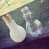 glass milk bottle - 400ml Bulb Shaped Milk Glass Cup Bottles Transparent Milk Bottle Glass Cup Juice Glasses Water Glass Cups with Hollow Cup Lid LJJP230