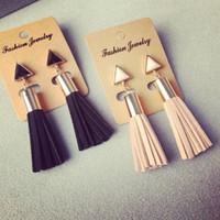 alphabet fabric - Vintage Triangle Tassel Drop Earrings Faux Suede Fabric Long Dangle Earrings for Women EX129