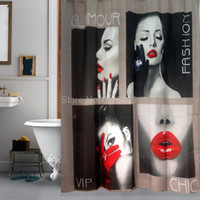 Wholesale Shower Curtain Sexy Girl Flaming Lips Bathroom Waterproof Mildewproof Polyester Fabric With Inch Hooks