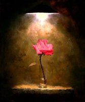 One Panel Oil Painting Fashion Pure Handmade Oil Painting Modern floral Art Wall Deco On High quality Canvas in custom sizes,A Red Rose under the light