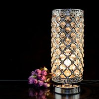 aluminum restaurant tables - new hot Metal LED Table Lamps Carving Crystal Lampshade AC85 V Study Restaurant Fashion Indoor Desk Lighting