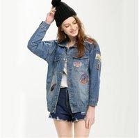 bf designs - 2016 Spring New European BF style Denim Jackets Women s Long Loose batwing Jacket streetwear jean coats