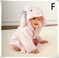 Wholesale Super soft cotton baby bathrobe children cute hooded baby bath robe kids hood bathrobes cotton