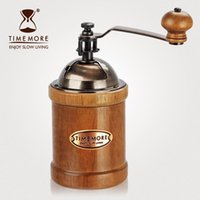 Wholesale Removable rubber wood household bean machine grinding bottle hand coffee