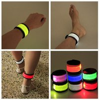 Wholesale Color LED Lighted Wristband Luminous Bracelets Nocturnal Band Running Security Arm Band Fluorescence Switch Control For Party