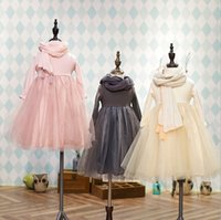baby scarf length - Brand New Korean Style Baby Kids Clothing Long Sleeved Lace Tulle Princess Dress With Scarf Children Party Dressy Color Tops Skirts