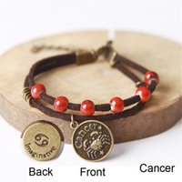 astrological signs cancer - Ceramic Beaded Charm Bracelet with Constellation Pendant Zodiac Astrological Sign Horoscope Cancer Porcelain Bangle Creative Birthday Gifts