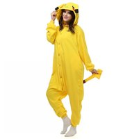 Wholesale Anime pajamas Adult Pocket Monster pikachu Onesie fantasias costume Cartoon pikachu halloween cosplay costumes for women and men jumpsuit