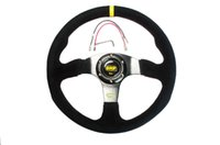 Wholesale NEW inch mm Suede Leather Flat Rack Corn Drifting Steering Wheel with black box