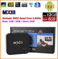 Compra Dongle 4k-NUEVA caja de la TV del androide 4,4 MXIII 4K Amlogic S802 Smart TV TV Quad Core 2G / 8G 1G 8G Mini PC 2.0GHz XBMC Wifi Dongle Miracast DLNA 4P