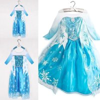 Wholesale 2016 Popular Baby Girl Elsa Anna Dresses Princess Girls Dresses Child Snow Queen Costume Causal Lace Sequins Cosplay Kids Clothes MC0176