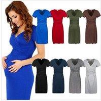 Wholesale Women Maternity Dress Tunic Short Sleeve V Neck Stretchy Bodycon Pregnant Dresses Vestidos Pregnant women clothing Mummy dress DDA3348 pc