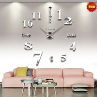 Wholesale 2016 new DIY Home Living Room Decoration D Mirror Effect Acrylic Glass Decal Quartz Wall Clock Modern Design Creative Scale