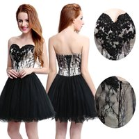 Wholesale Black Little Lace Tulle Short Homecoming Prom Gowns Sweetheart Lace Up Knee Length Cheap Cocktail Evening Gowns Special Occasion Wears