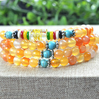 agates prices - White agate beaded bracelet bangle Factory Price Natural red Agate mm Beads Meditation Prayer Necklace Wrap Bracelet