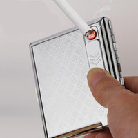Wholesale Stainless Steel Cigarette Case with Electronic Rechargeable Windproof Flameless USB Cigarette Lighter