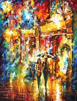 best friends paintings - Wall decor for office high quality Leonid Afremov s hand painted Palette knife oil paintings best friends in the city