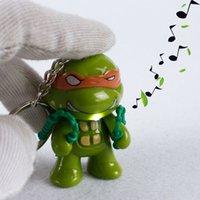 Wholesale Hot Sale New Arrival LED Lighting Teenage Mutant Ninja Turtles TMNT Action Figure Toys With Sound Keychain