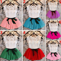 Wholesale 7 Color Kids Girl Lace Stripe Bowknot Dress Suits Summer Chiffon Lace Cotton T shirt Short Skirt Sets Baby Clothes kids Clothing Set