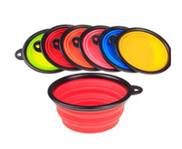 Wholesale 6 candy Colors Pet Dog bowl Floding Silicone Frisbee Collapsible Feeding Water Feeder Travel Bowl Dish Cats bowl Dog Supplies