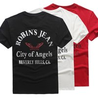 angels stretch jeans - 2016 New Robin Jeans Mens T Shirts Short Sleeve Slim Fit Stretch Shirts ROBIN S JEANS City Of Angels T Shirt Plus Size M XL