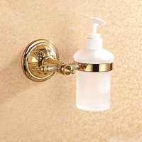 Wholesale Liquid Soap Dispenser and Holder Stainless and Copper Shower Bathroom Accessories with Frosted Glass Bottle